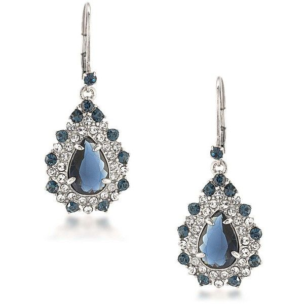 Carolee Silvertone Brass Statement Drop Pierced Earrings ($60) ❤ liked on Polyvore featuring jewelry, earrings, blue, carolee earrings, sparkly earrings, silvertone earrings, silvertone jewelry and brass earrings
