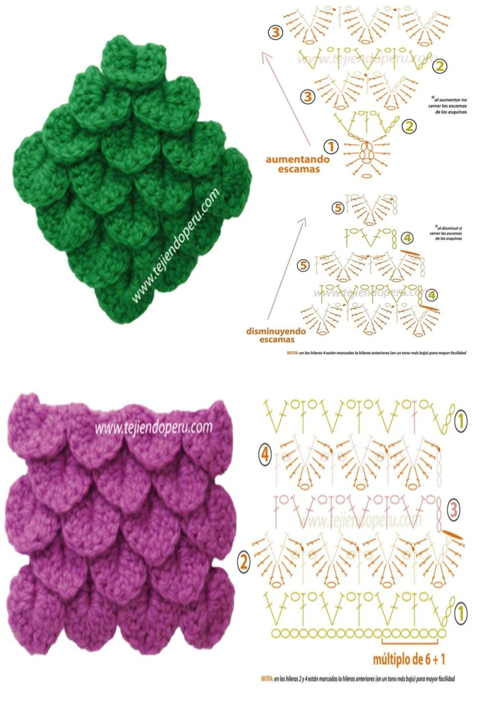 punto escamas o cocodrilo fuente: www.tejiendoperu.com