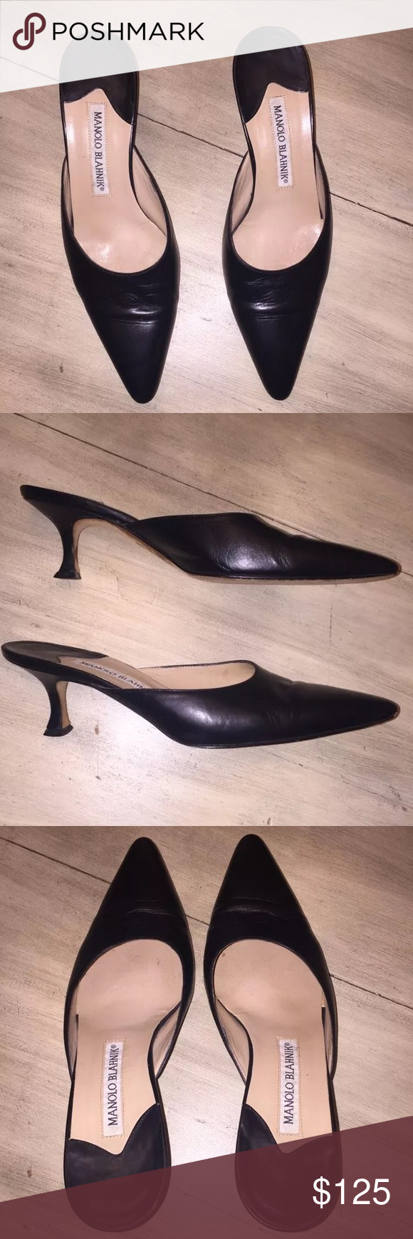 Manolo Blahnik Black Leather Kitten Heel sz 36 Manolo Blahnik black leather kitten heel shoes. Size 36. Made in Italy. In good condition with slight wear overall, but nothing major. Still have a lot of life in them. Manolo Blahnik Shoes Heels