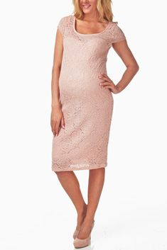 88f9c75d410e Dusty Pink Lace Maternity Dress. Obsessed with this dress. What a way to  look classy, sexy, and still be pregnant. Paired with Nude pumps - timeless.