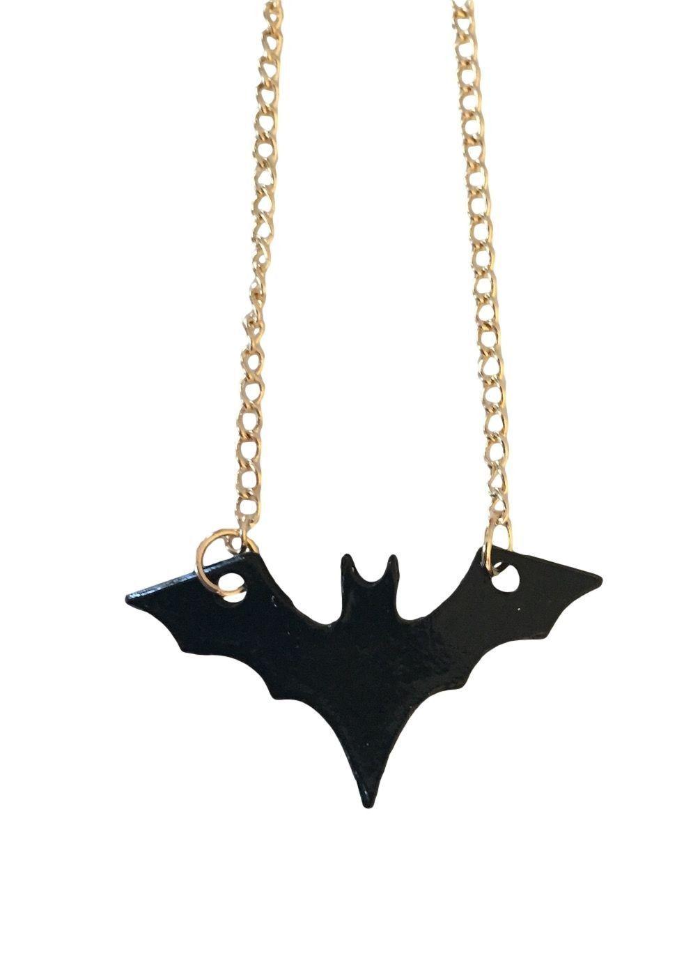 Batman bat symbol black thin metal gold color chain pendant batman bat symbol black thin metal gold color chain pendant necklace buycottarizona Image collections