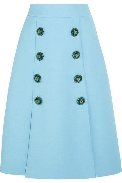 Dolce & Gabbana | Crystal-embellished wool-crepe skirt | NET-A-PORTER.COM