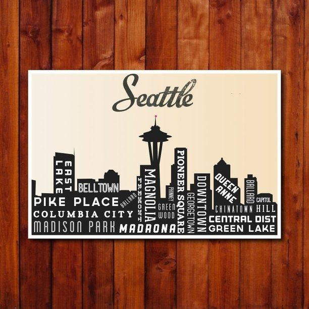 Seattle Wall Art seattle skyline, city art poster, skyline art, typography poster