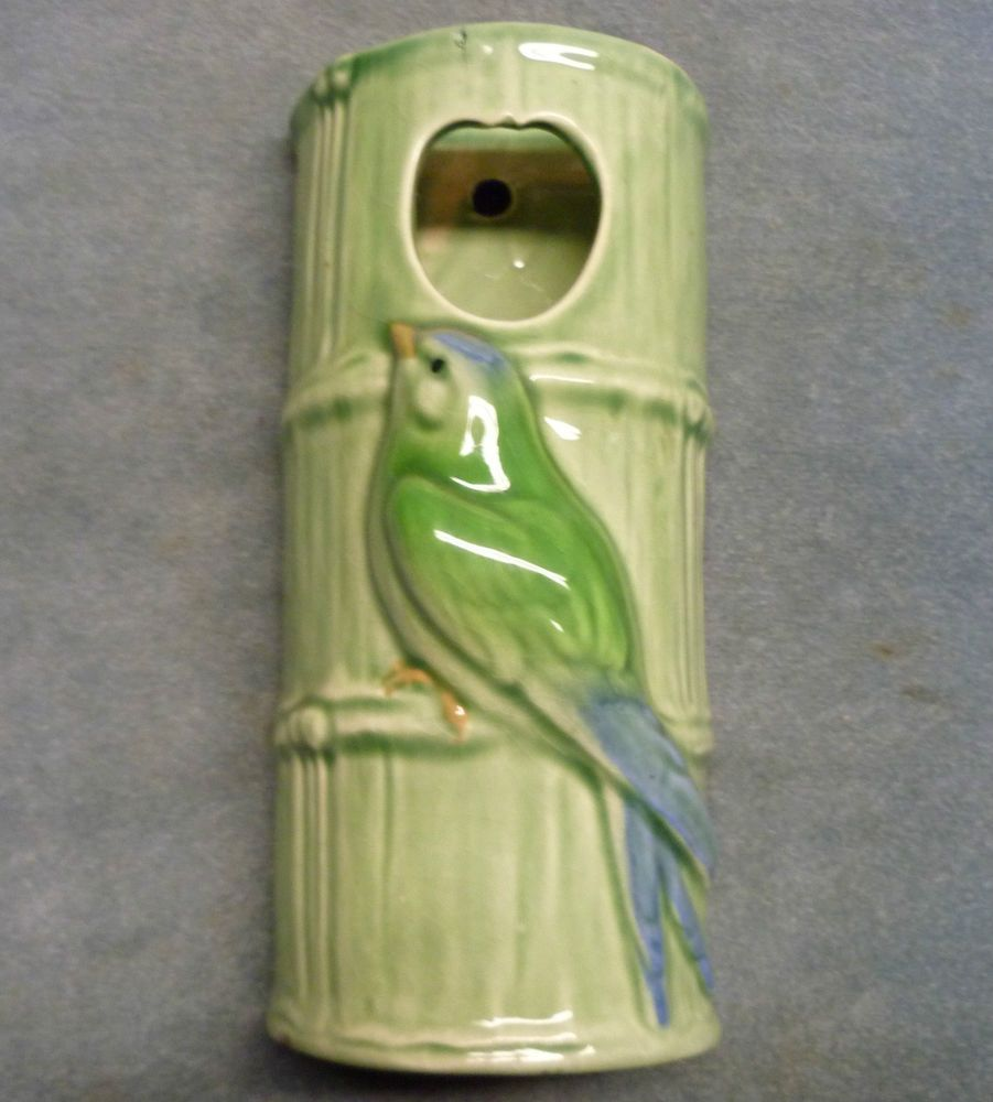 Erphila fayence germany ceramic wall pocket vase green bird bamboo vintage erphila fayence germany ceramic wall pocket vase green bird bamboo reviewsmspy