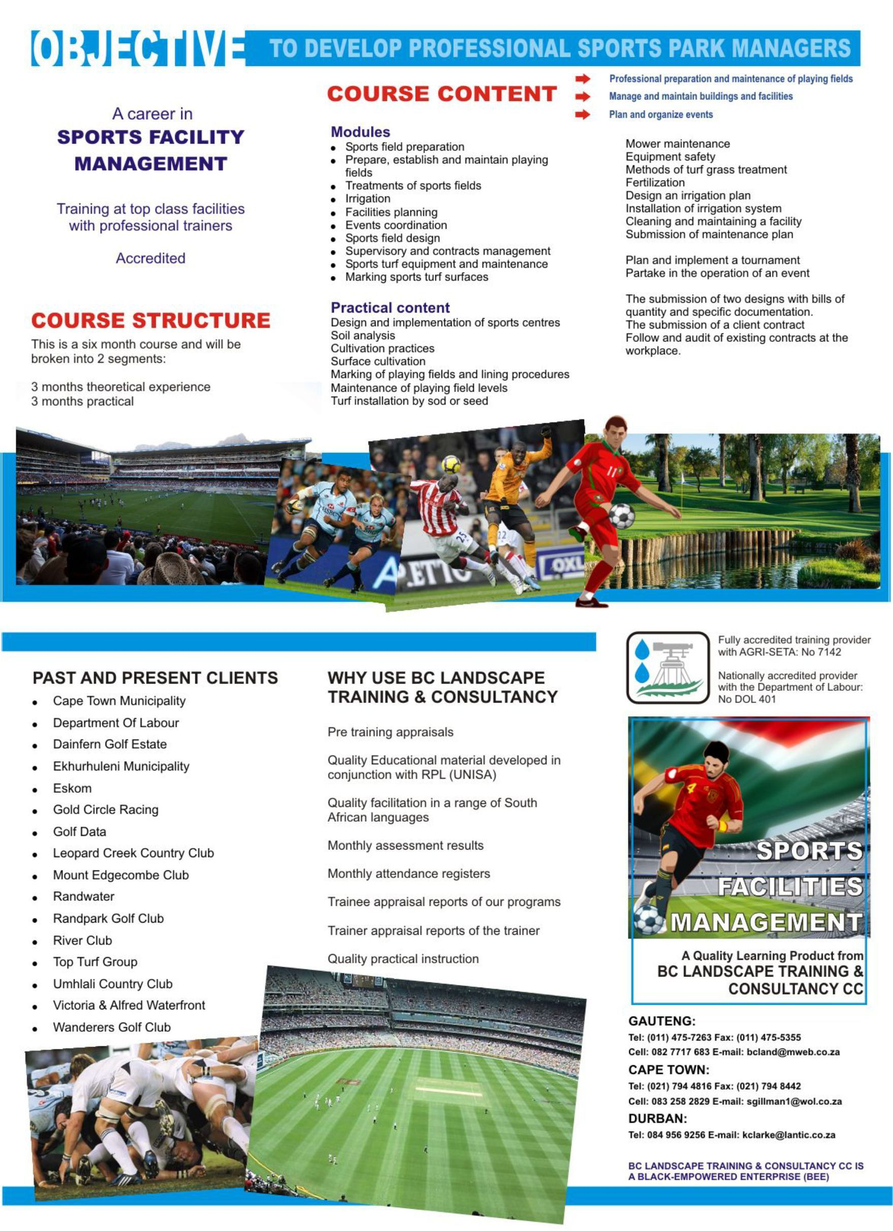 Brochure For Sports Management Course Bc Landscape Training And