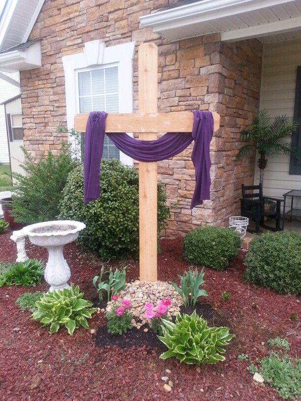 Easter Cross For Front Yard Easter Outdoor Easter Decorations Outdoor Diy Easter Decorations