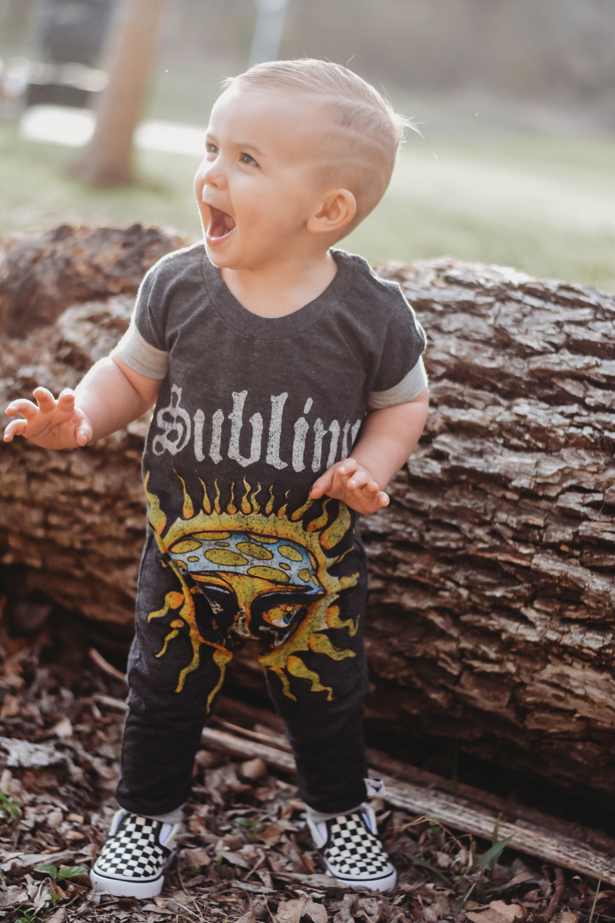 Baby rompers, handmade baby clothes, baby bodysuit, custom baby clothes, trendy toddler clothes, rock music, punk is part of Baby Clothes Punk - One of a kind custom Rompers are the perfect individuality statement!! There are so many amazing Tees that are just waiting to be turned into something awesome for your little guy or babe! Rompers can be made into sizes 1218m through 34T  These run true to size in our opinion   All styles are neck entry with an elastic neck to allow for way in and off  NO SNAPS  Finished with a cuff this little outfit has always been a show stopper  Machine washable with like colors  Professionally Serged for strength and durability  The first image is for the romper to be made, the following pictures are samples of romper styles to choose from   ALL T SHIRT ROMPERS ARE MADE FROM PURCHASED LICENSED PRODUCTS AND HANDMADE INTO ROMPERS  +++If you have a special Tee you would like turned into a Romper I can do that as well  Message me for details on how to send me your Tee  Rompers are professionally serged for durability and have corresponding cuffs added to sleeves and legs  Turn around time is 12 weeks +++ These Rompers are made from cotton blend Tees  They may shrink some, please order sizes accordingly  We suggest when washed that you lay flat to dry to prevent shrinkage and help avoid fading  Red and Black are tricky colors to keep bright, please be advised  +++For Custom orders Tee you wish to send to me to have made into a romper should be adult LXL with image as middle center as possible  Please message me with questions you have about a tee you would like to send and I will give you the details on how to proceed ++++ Romper Size Chart Newborn  Shoulder to crotch13in Width 9in 06m Shoulder to crotch 14in Width9 5in 612m Shoulder to crotch 15 5in Width 10 5in 912m Shoulder to crotch 17in Width 11in 1218m Shoulder to crotch 18in Width12 5in 1824m Shoulder to crotch 19in Width 13in 23T Shoulder to crotch 21in Width 14in 34T Shoulder to cr