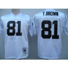 Top Mitchell and Ness Raiders #81 Tim Brown White Stitched Throwback NFL