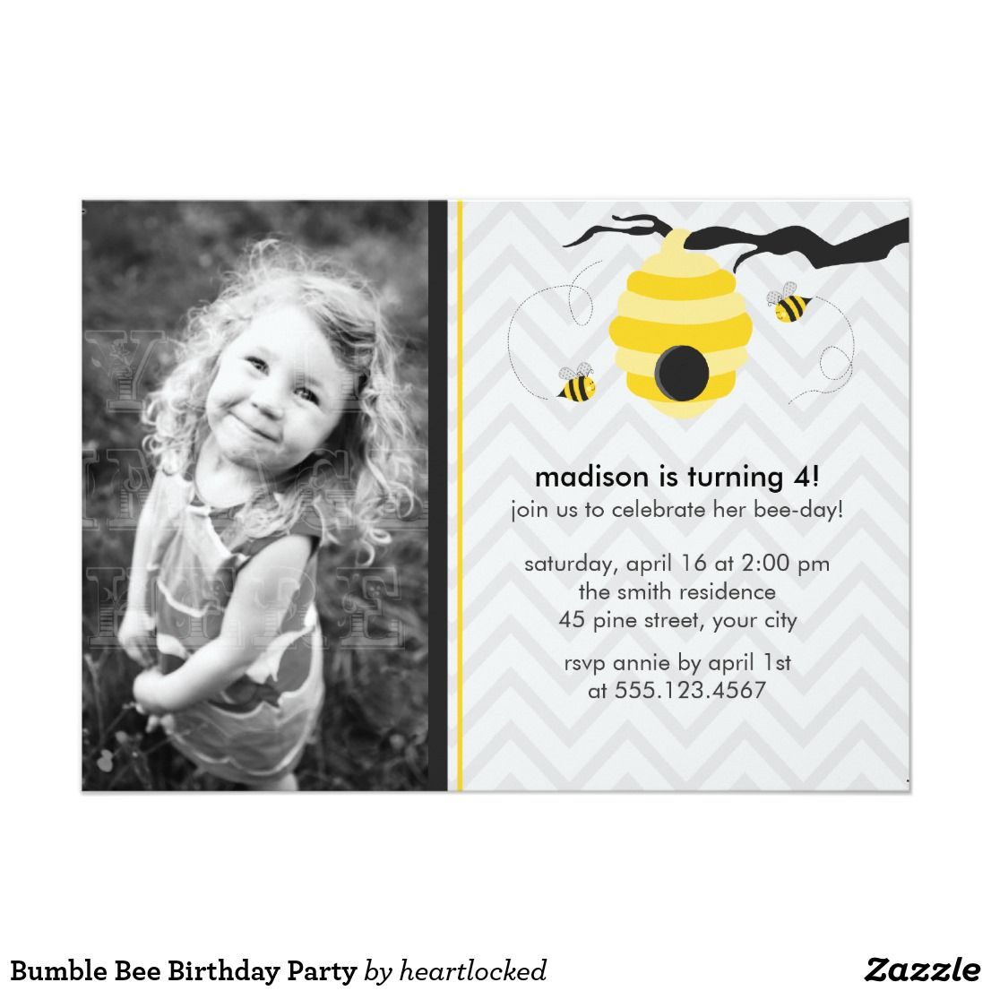 Bumble bee birthday party card bumble bee birthday kids birthday bumble bee birthday party card filmwisefo Images