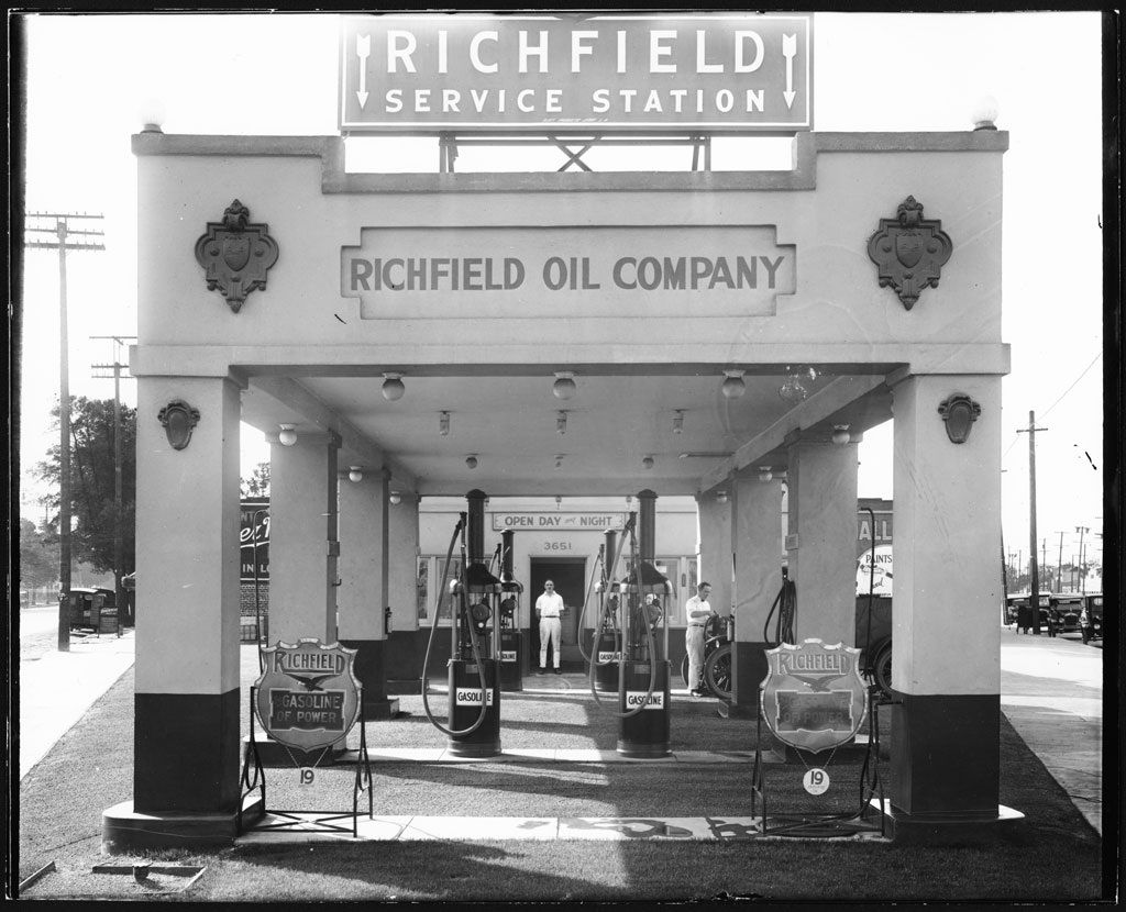 A Richfield service station, Los Angeles, 1920's. There