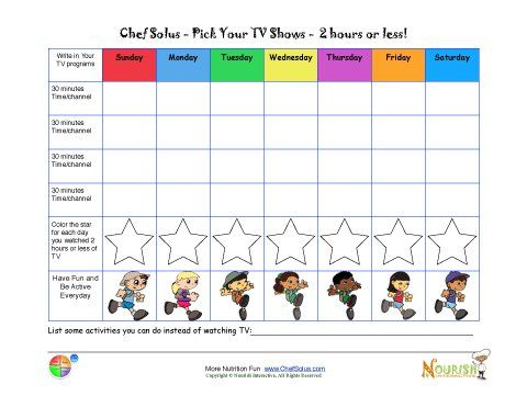 Limiting Tv Time Chart For Kids  Printable Tracking Sheet  Kid