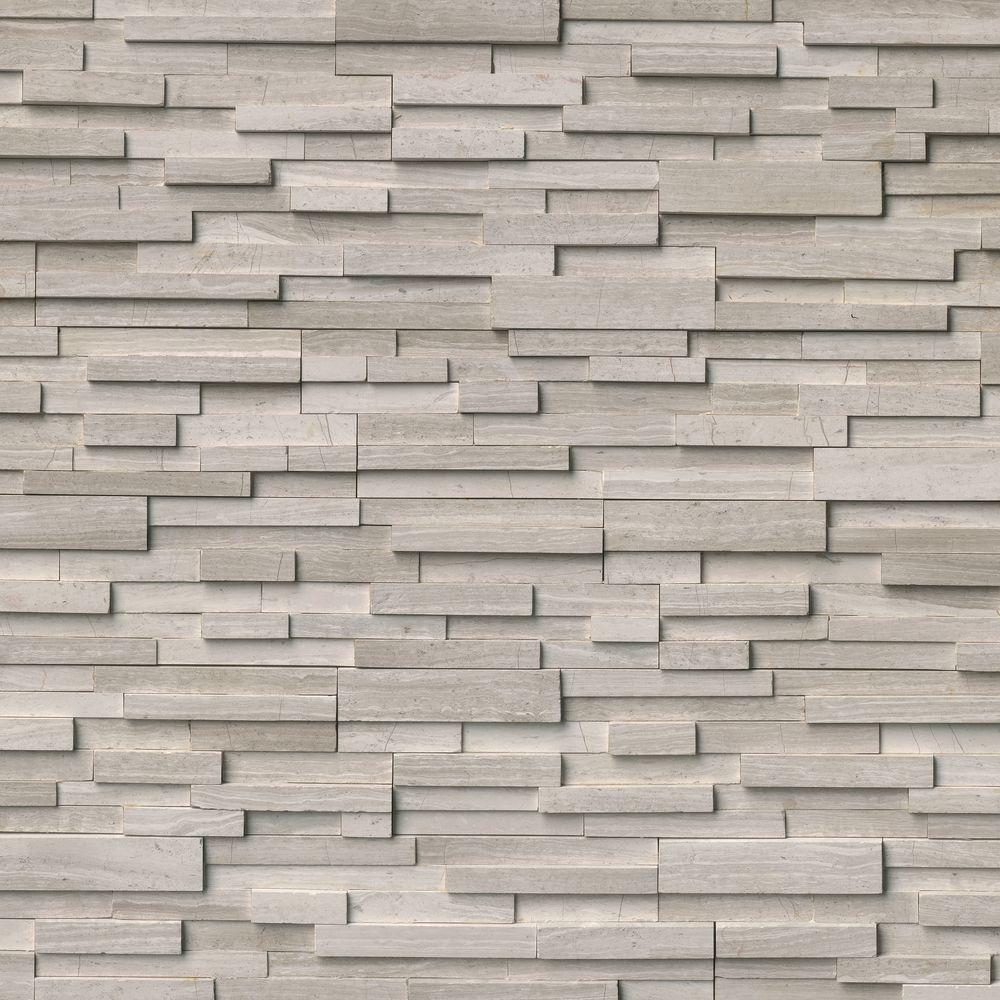MSI White Oak 3D Ledger Panel 6 in. x 24 in. Honed Marble Wall Tile ...