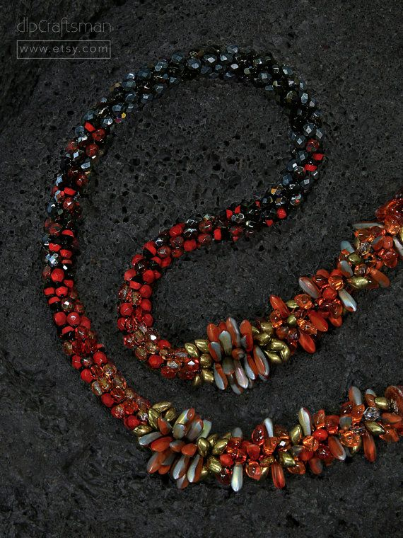 Statement Lava Flow Necklace, Volcano Kumihimo Necklace, Kumihimo Braided Necklace by dlpCraftsman on Etsy