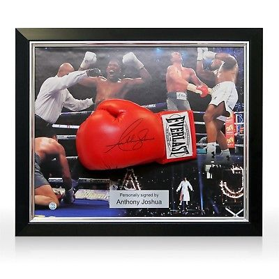 dff287a7243 Anthony Joshua Signed Red Everlast Boxing Glove Autographed Memorabilia  Framed
