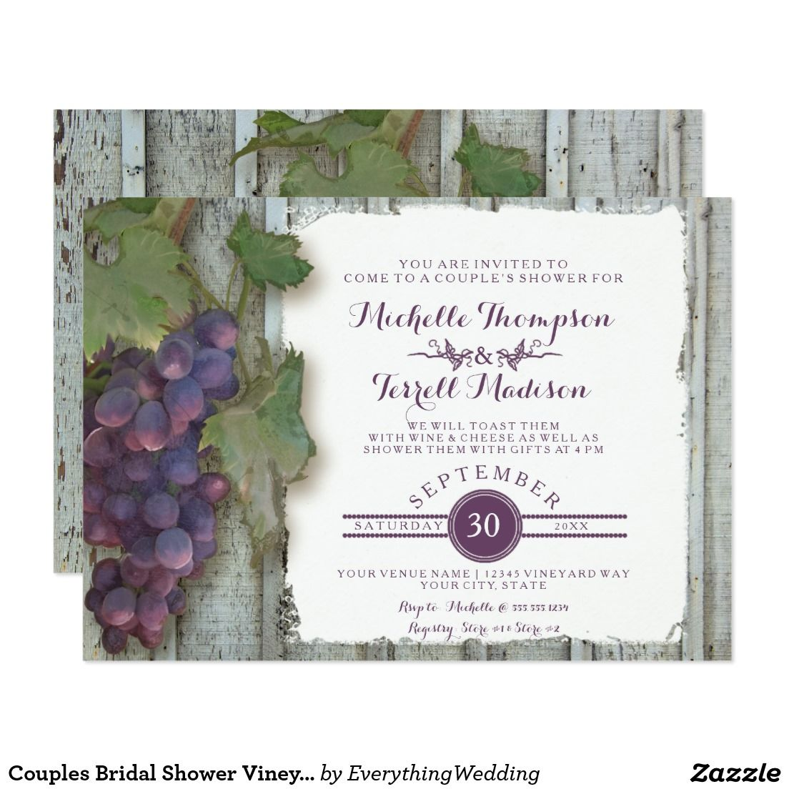 Couples Bridal Shower Vineyard Wine Grapes Theme Card | Bridal ...