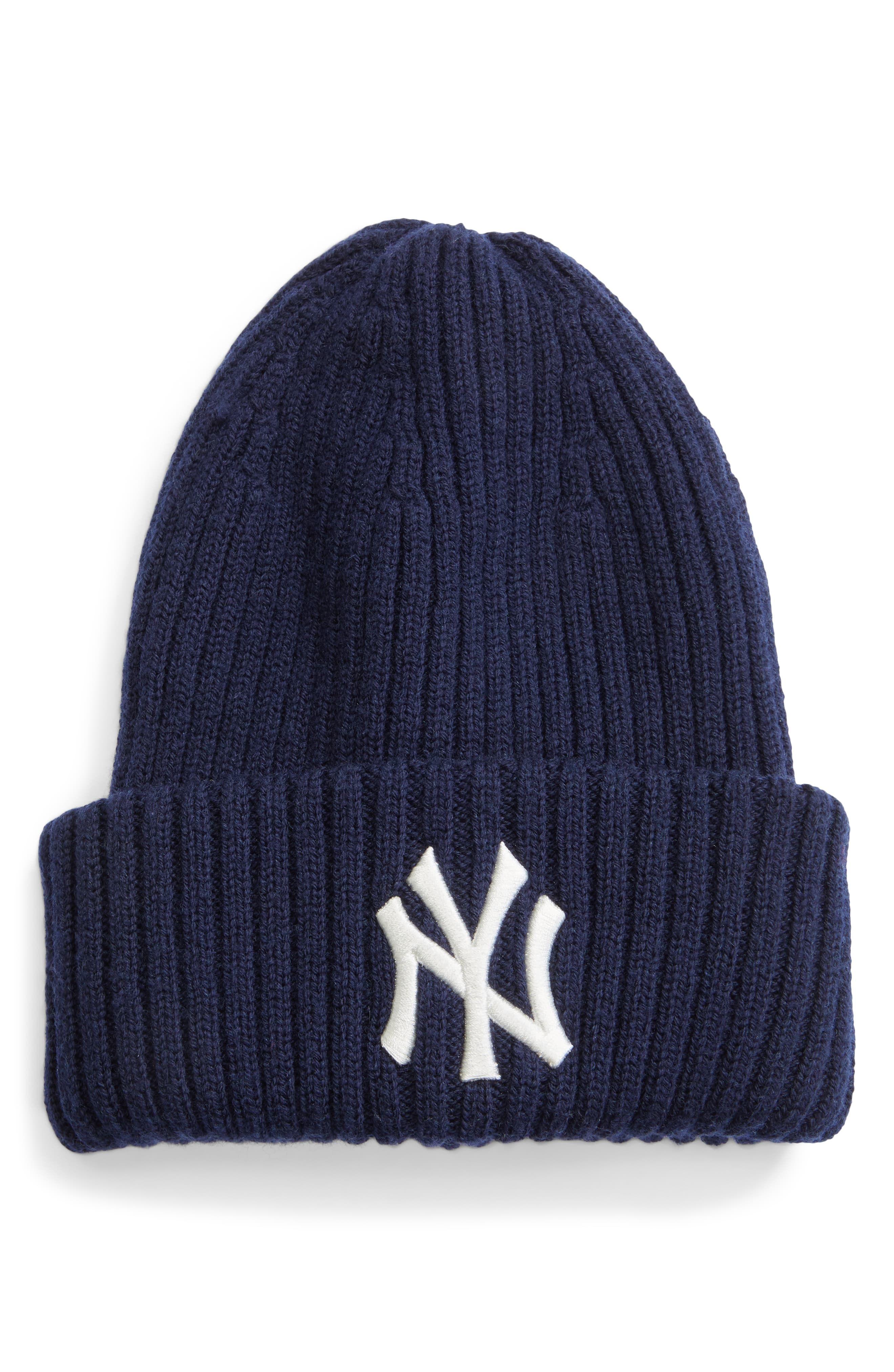 Boys New York Yankees Baseball Ribbed Beanie Knitted New Era NY Hat