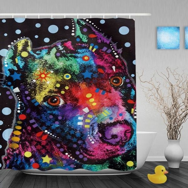 Bubbly Pitbull Shower Curtains Waterproof Fabric Bathroom For Dog Lovers