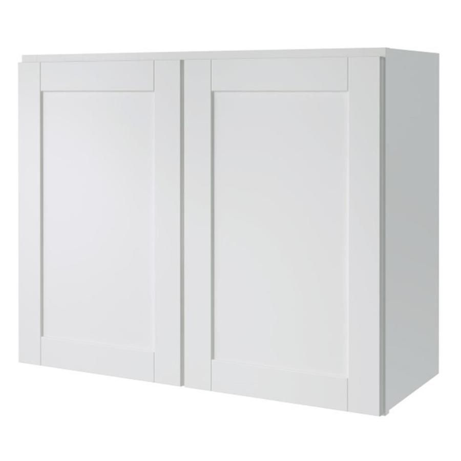 Diamond Now Arcadia 30 In W X 24 In H X 12 In D Truecolor White Door Wall Stock Cabinet Lowes Com Stock Cabinets White Doors Types Of Cabinets