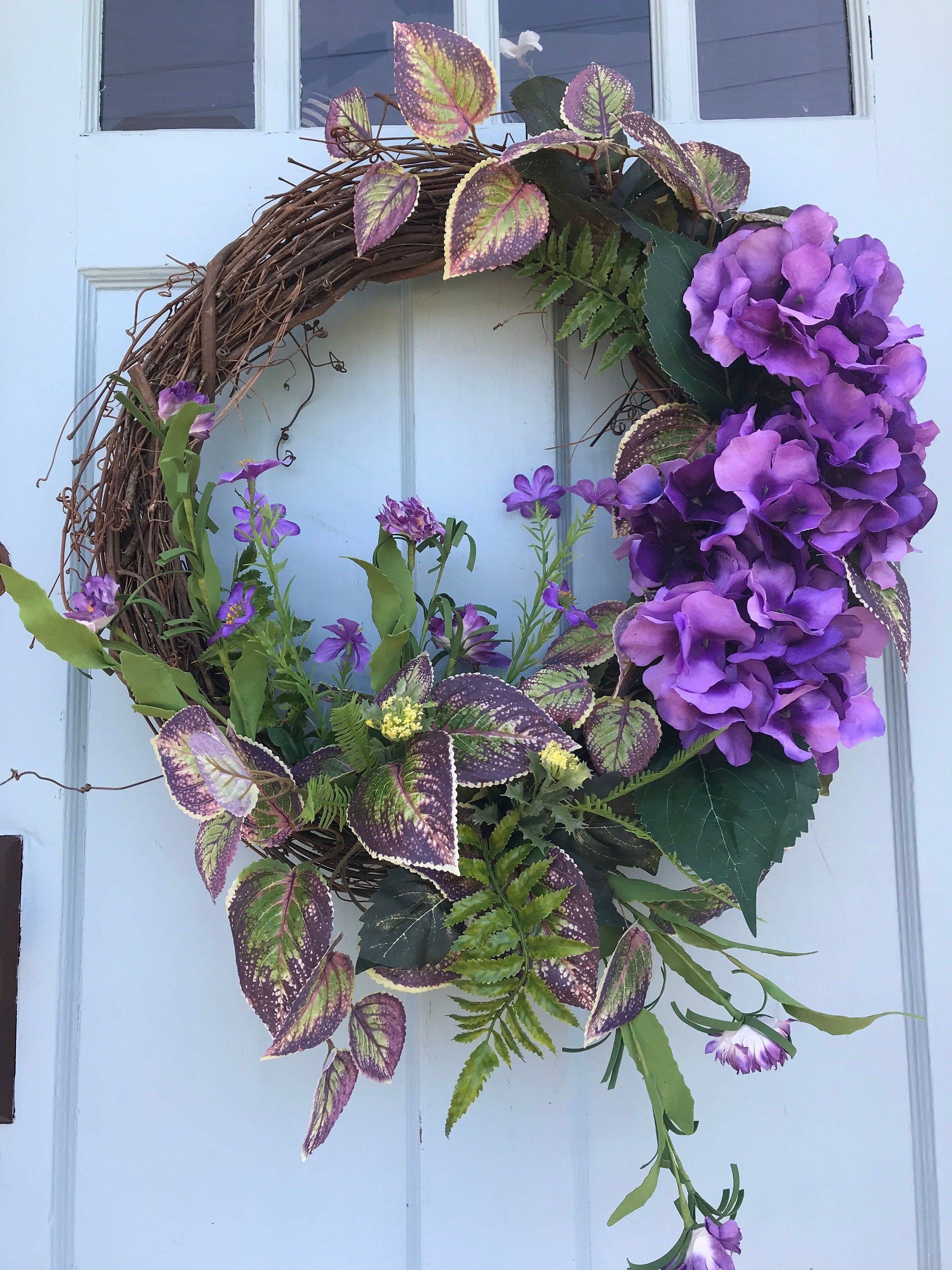 Photo of Beautiful purple hydrangeas with purple Ivy Summer Grapevine wreath for door. Wreaths, wreaths for front door, farmhouse, Christmas