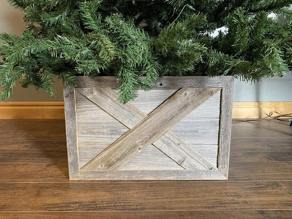 Amazonsmile Barnwoodusa Wooden Tree Box Collar Natural Weathered Gray Farmhouse Tree Bo Small Wood Christmas Tree Christmas Tree Box Wood Christmas Tree