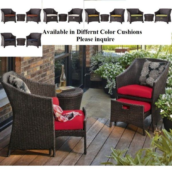 Lovely Target Home™ Loft Wicker Patio Conversation Furniture Set   Love That The  Footstools Pull Out; I Just Donu0027t Want Red!