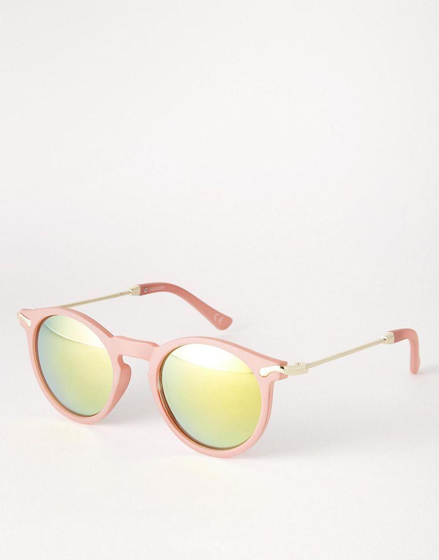5124ba0ae2 Gafas de sol finas con montura redonda con lentes flash y patillas de metal  de ASOS 11,99 €