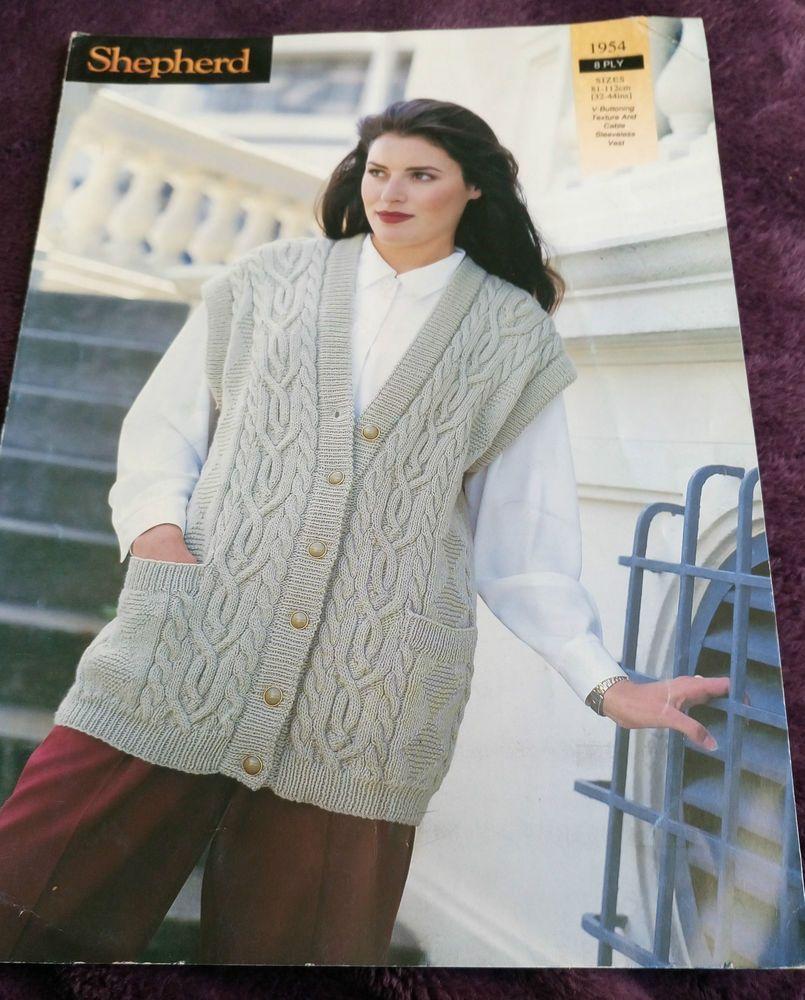 Women s Waistcoat Vest knitting pattern 8ply DK worsted 32-44 81 ...