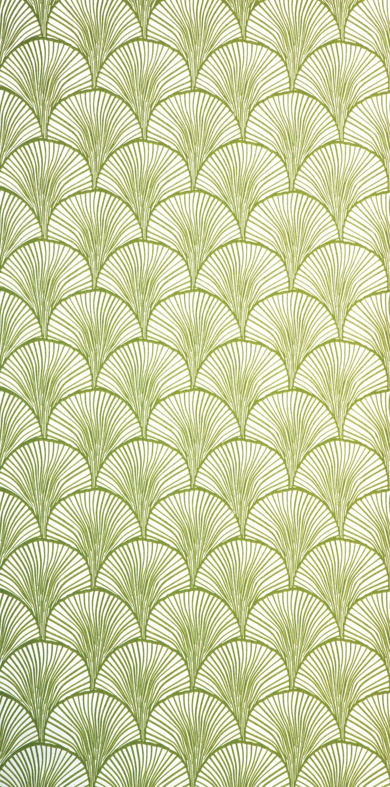 Styalized Ginkgo Wallpaper Moss Green Mimou