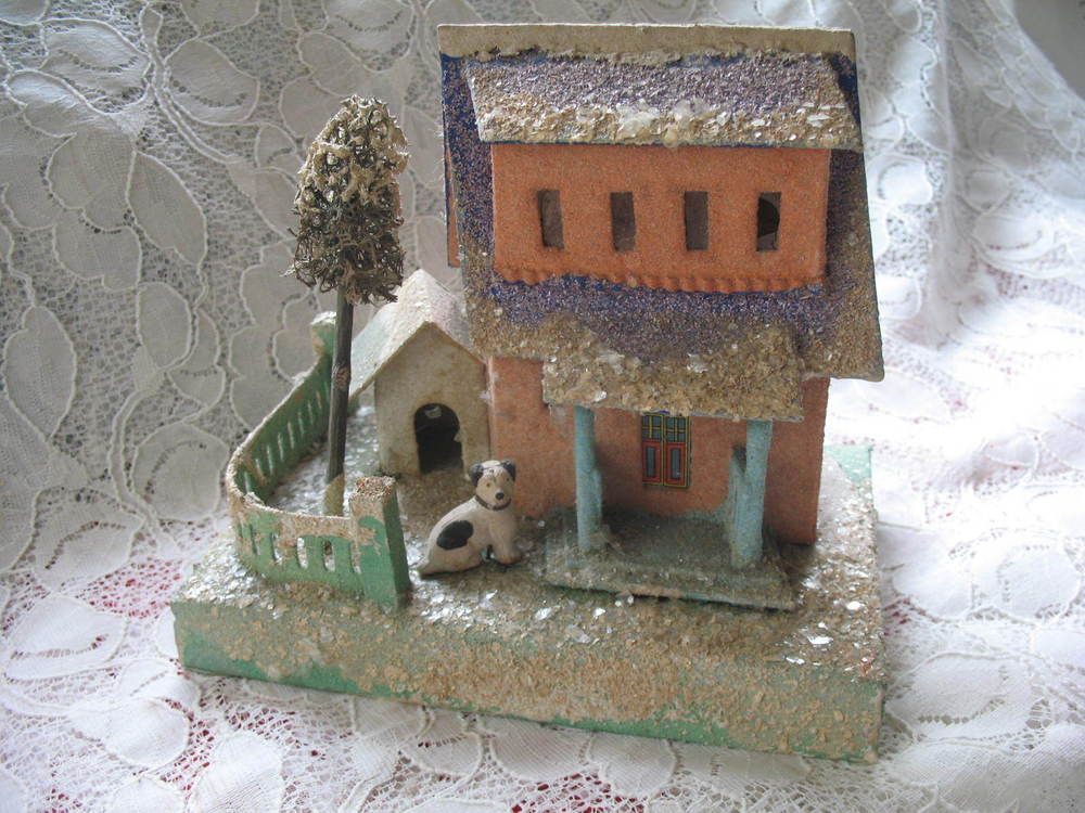 Vintage 1920 S Larger Coconut Putz House Cardboard House Dog