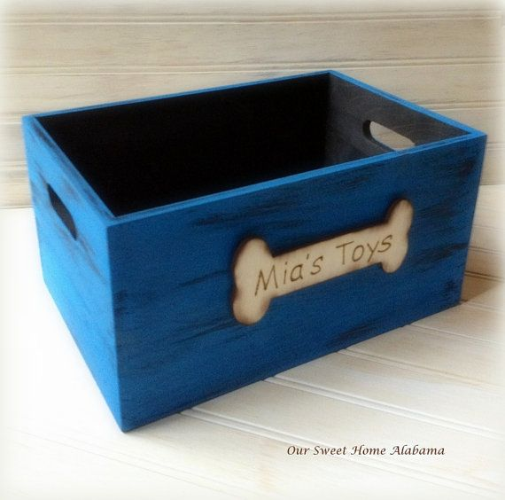Pet Personalised Toy Storage Box Dog Childs Rustic Crate