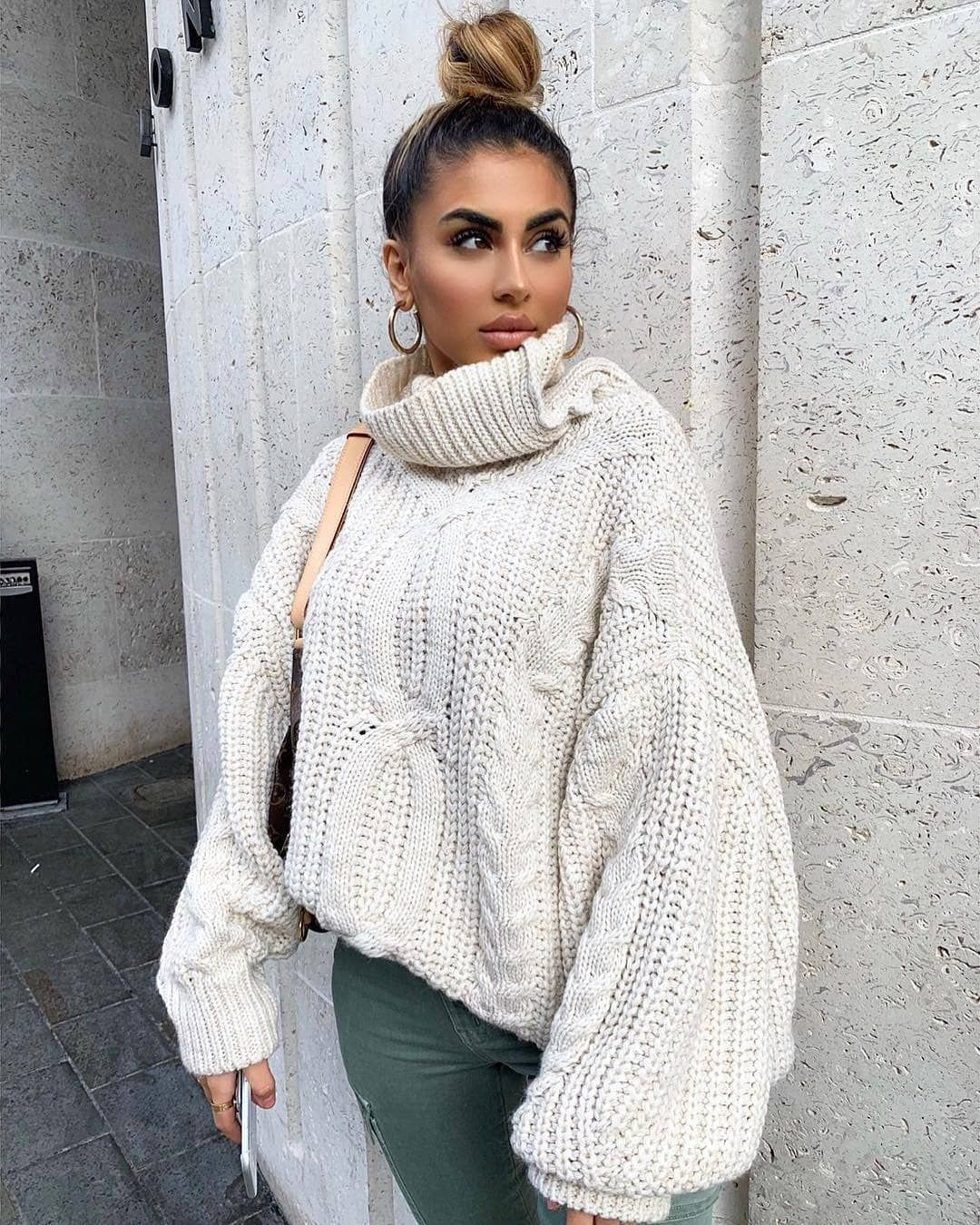 "0f0a87e0f3 Missy Empire on Instagram  ""We like it like that 😍 🔍 Search  Francesca  Beige Cable Knit Roll Neck Oversized Jumper (£43) 💕 Tag  missyempire     missygirls ..."