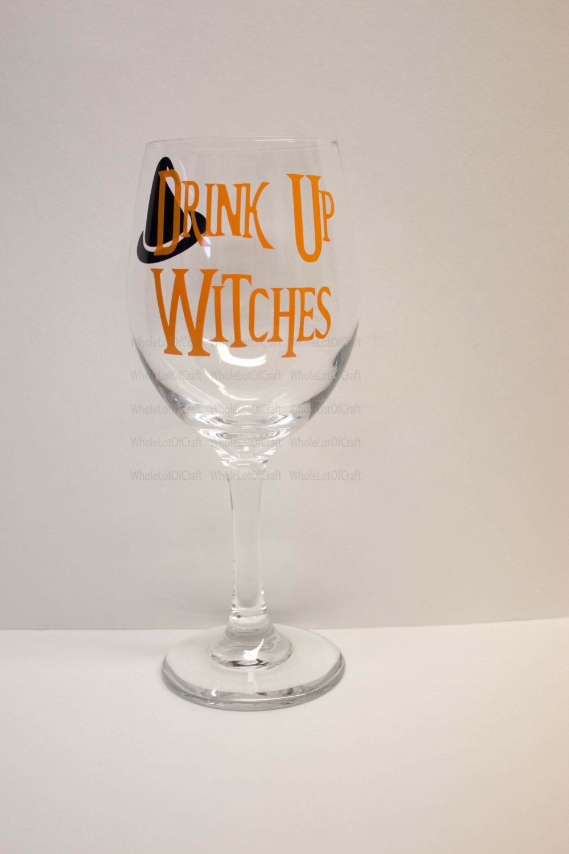 Captivating Halloween Wine Glasses   Drink Up Witches Wine Glass  Halloween Barware    Halloween Party Favors   Halloween Decor