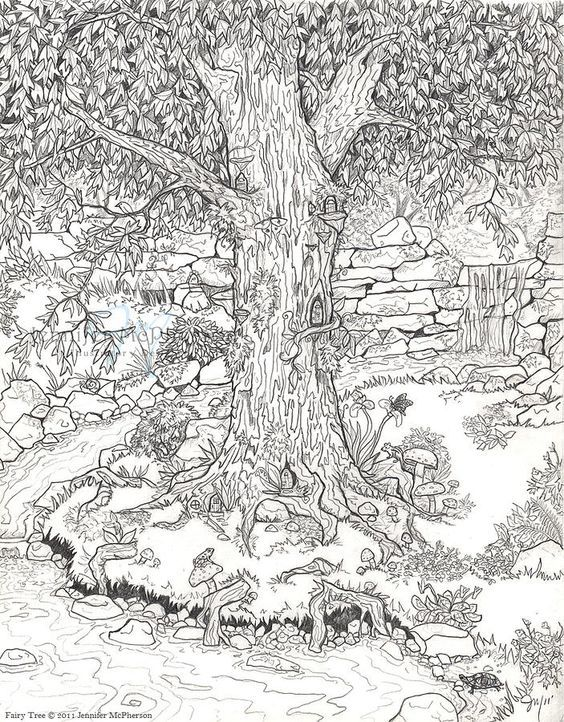 Because I Like To Color Fairy Garden Coloring Page For The Little Ones And Grown Ups Garden Coloring Pages Adult Coloring Pages Coloring Pages For Grown Ups