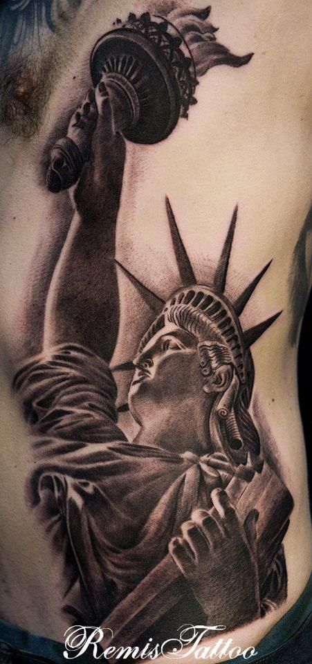 fc5380c524fd2 Black and grey Statue of Liberty   Tattoos   Liberty tattoo, Statue ...