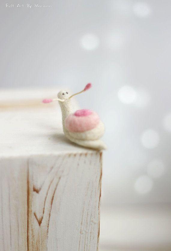 Needle Felted Snail Dreamy White Snail Needle Felt Art #needlefelting