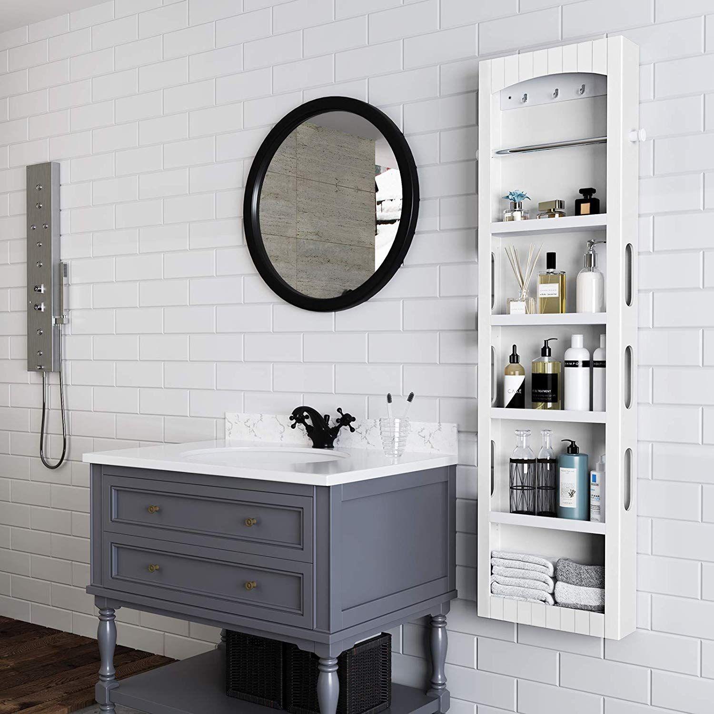 Songmics Bathroom Storage Cabinet Door Wall Mounted Save Floor Space Adjustable S Bathroom Storage Cabinet Small Bathroom Storage Cabinet Adjustable Shelving