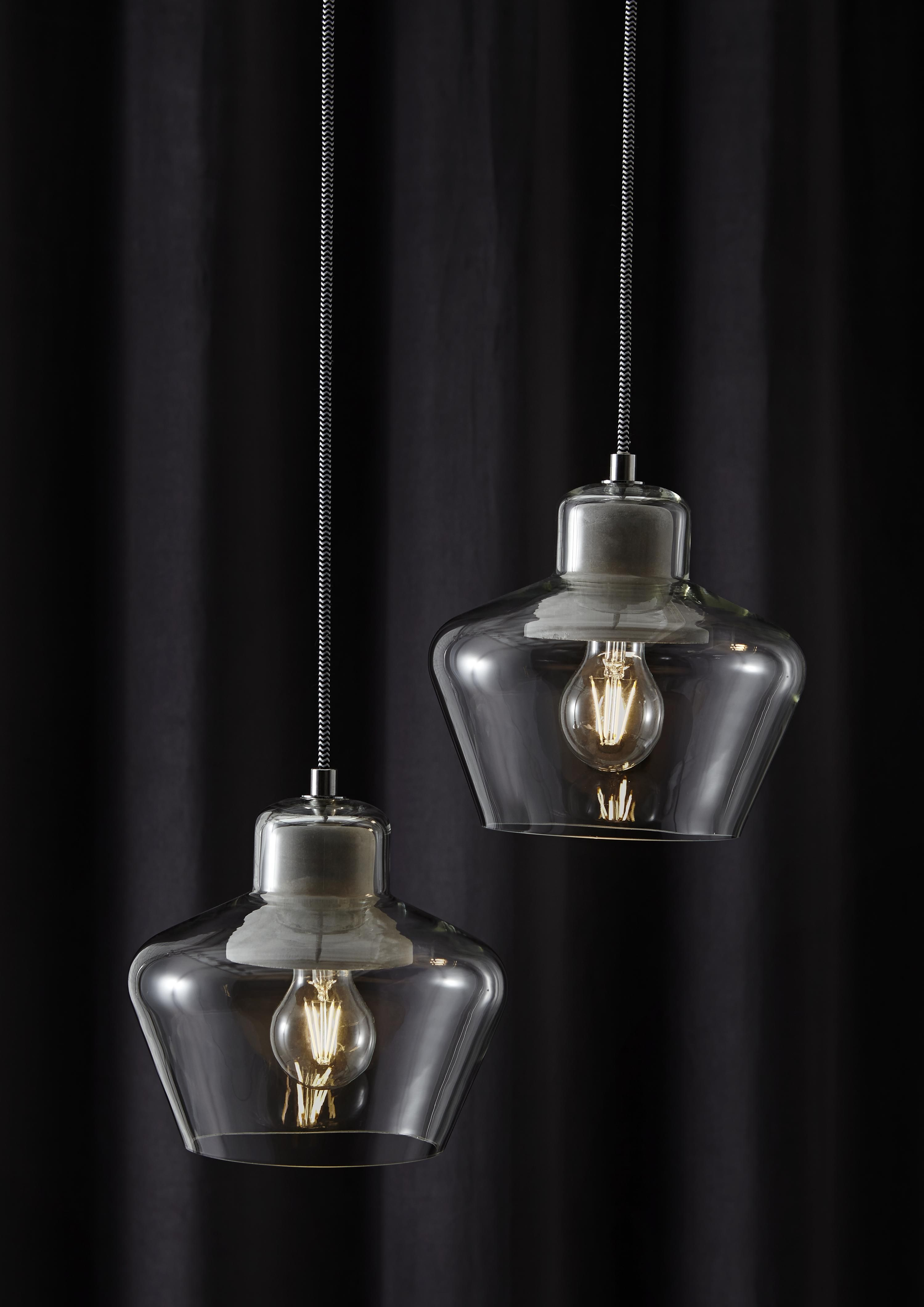 Jidda clear pendant ceiling light large pendant lighting hang two pendant lights at different distances for added impact a great feature over a mozeypictures Images