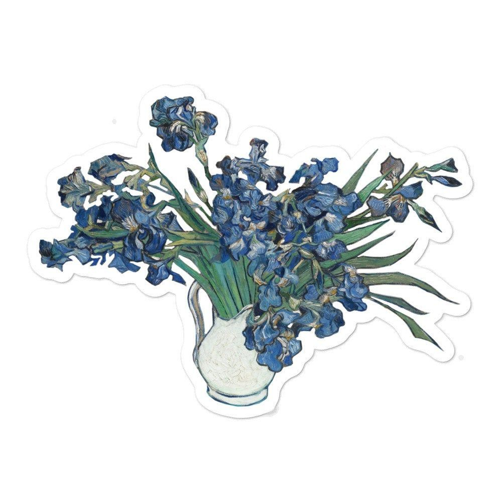 Photo of Vincent van Gogh Sticker Irises Vinyl Decal Water Bottle | Etsy