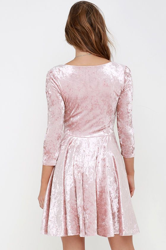96ecae8696a The everlasting love that you ll have for the I Love You Amore Blush Pink  Velvet Skater Dress! Luxuriously soft and stretchy velvet fabric hugs your  ...