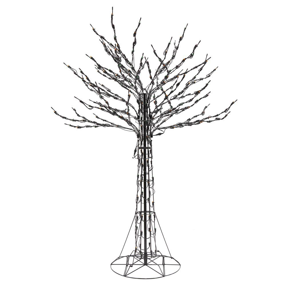 6 Ft Led Pre Lit Twig Tree With Orange Green And Purple