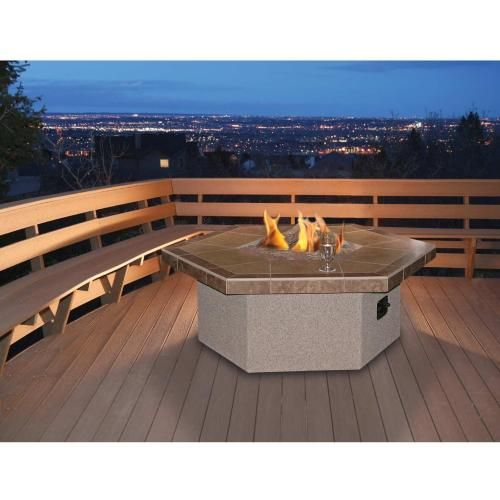 Propane Gas Fire Pit Table By Cal Flame   Hexagon Coffee Height : Ultimate  Patio