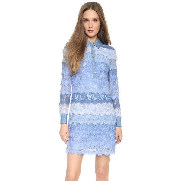 Diane von Furstenberg Amora Lace Dress (2.514.165 COP) ❤ liked on Polyvore featuring dresses, blue multi, button dress, collar dress, long sleeve dresses, blue long sleeve dress and blue lace dress