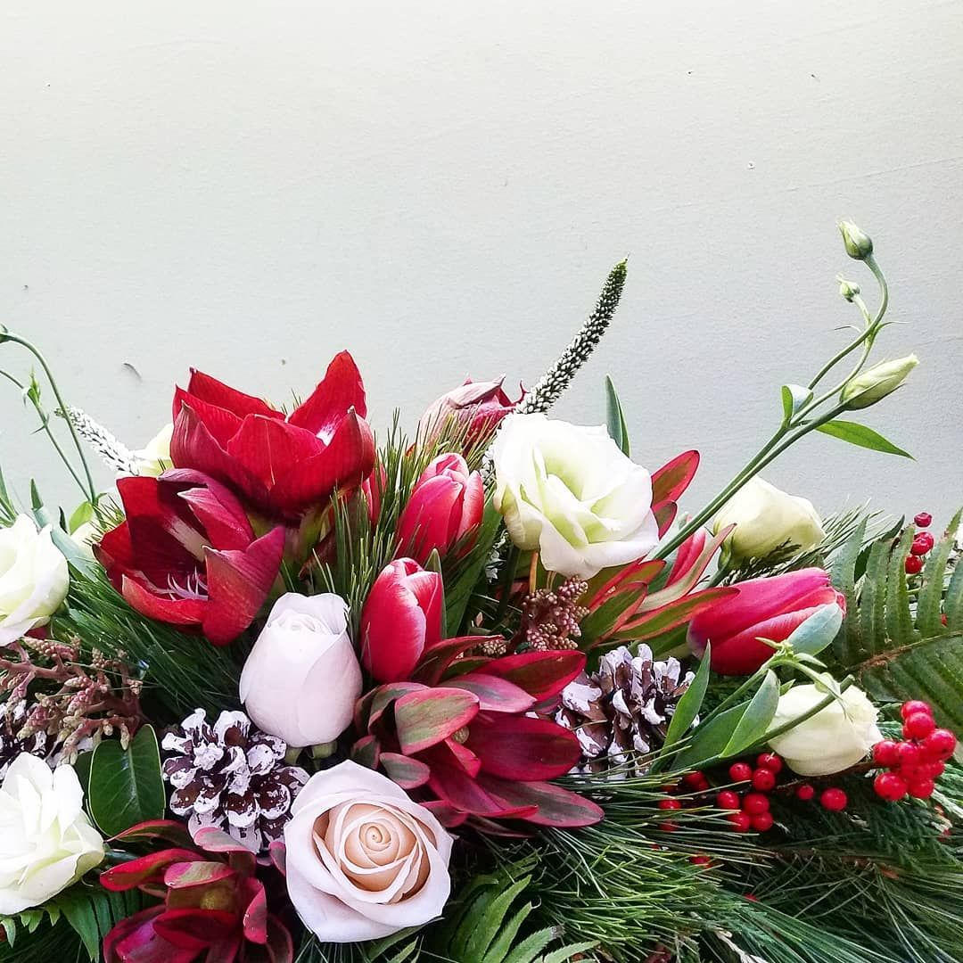 Holiday Centerpiece, Classic Colors with Amaryllis and