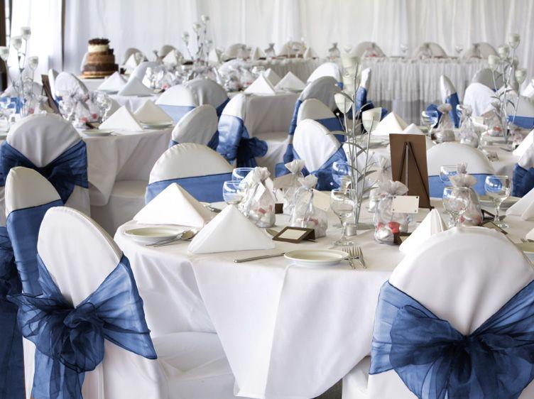 Navy Blue Organza Chair Cover Sash Bow Wedding Party Chair