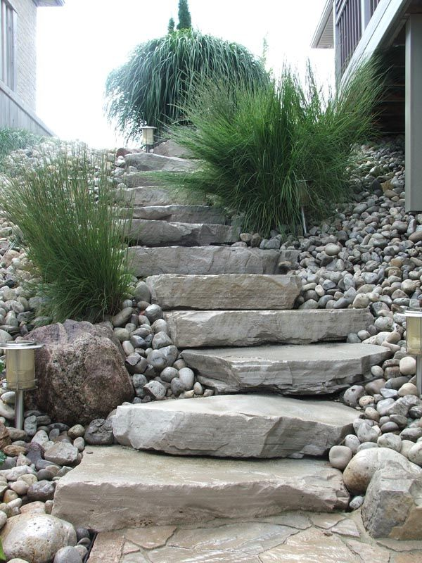 Natural Stone Steps To Patio Stone Landscaping Landscape Stairs Landscape Steps