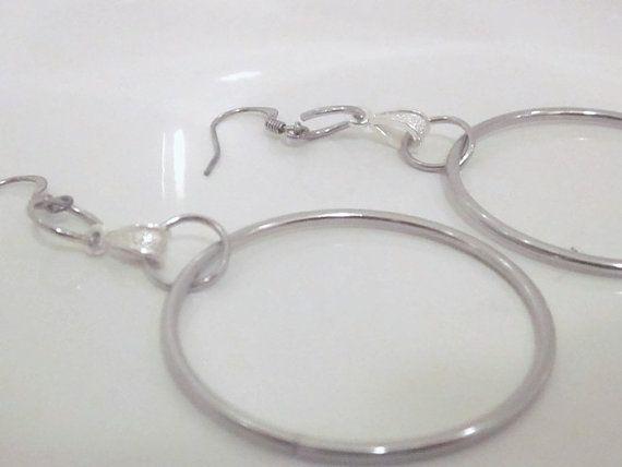 Stainless Steel Hooped Earrings Silver Modern by GemsofJoyDesigns