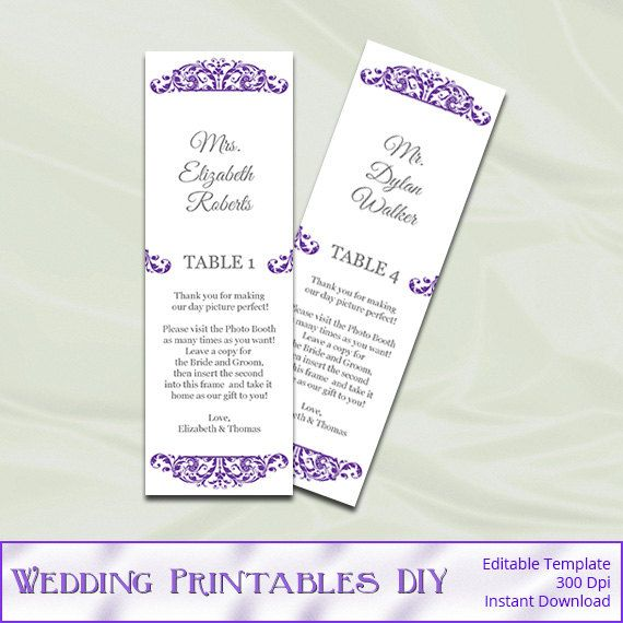 Photo Booth Place Card Template Purple by WeddingPrintablesDiy - place card template