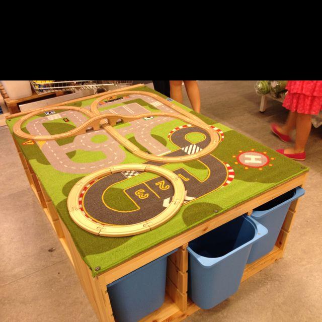 DIY rug/train table with storage bins & DIY rug/train table with storage bins | Kids: Trains | Pinterest ...