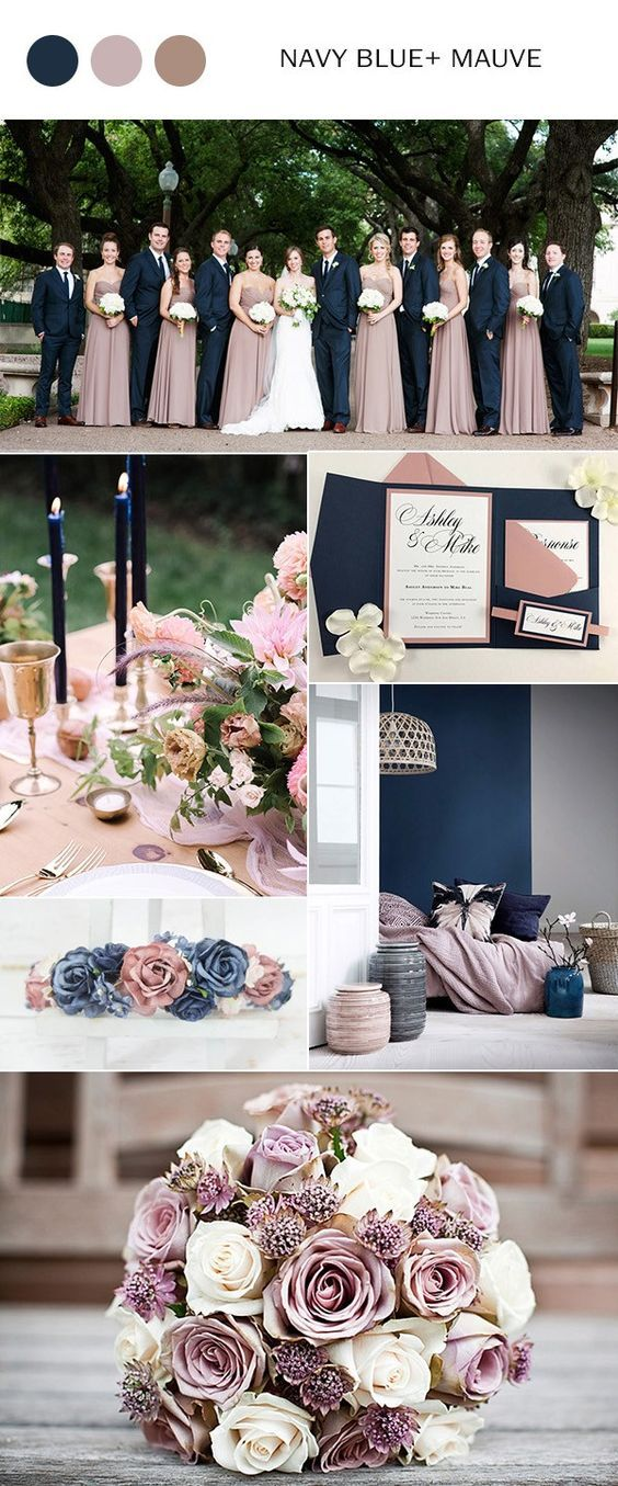 Top 10 wedding color ideas for 2018 trends weddingideas mauve and navy blue and mauve wedding color ideas for 2018 wedding weddingideas weddingcolors junglespirit Images