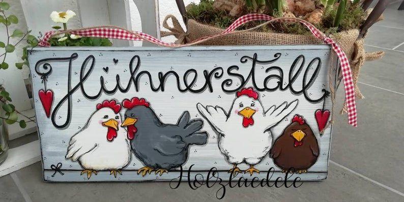 Hühnerstall, handbemaltes Holzschild, Einzelstück